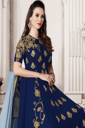 Beautiful Royal Blue Faux Georgette Heavy Embroidery Kali Work With Stone Work Salwar Kameez