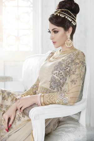 Impressive Brown Grey Net Heavy Embroidery Work with Stone Work and Lace Border Salwar Kameez