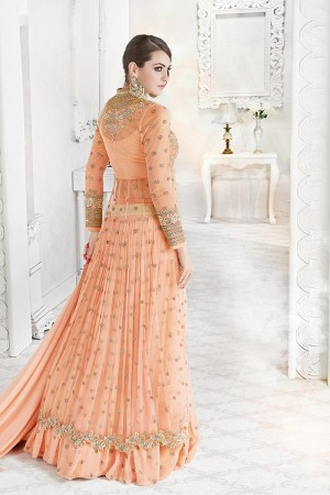 Stylish Light Orange Georgette & Net Heavy Embroidery Work with Stone Work and Lace Border Salwar Kameez
