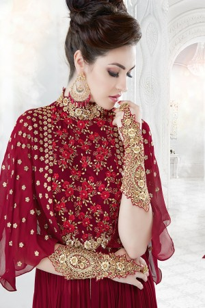 Peppy Maroon Georgette Heavy Embroidery Work with Stone Work and Lace Border Salwar Kameez