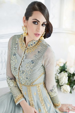 Fab Sky Blue Georgette Heavy Embroidery Work with Stone Work and Lace Border Salwar Kameez