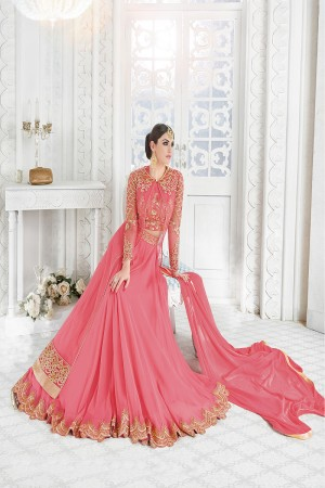 Graceful Pink Georgette & Net Heavy Embroidery Work with Stone Work and Lace Border Salwar Kameez