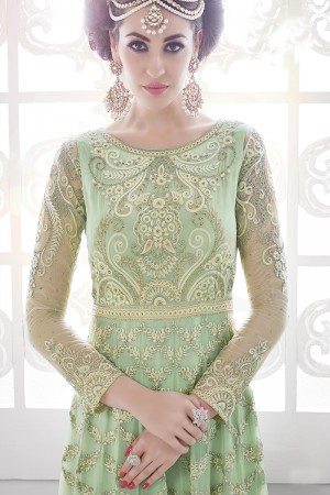 Bewitching Pista Georgette Heavy Embroidery Work with Stone Work and Lace Border Salwar Kameez