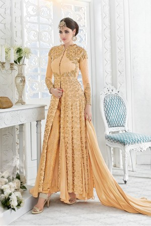 Picturesque Light Orange Georgette Heavy Embroidery Work with Stone Work and Lace Border Salwar Kameez