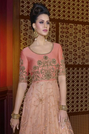 Astounding Salomon Net Heavy Embroidery Kali Work Salwar Kameez