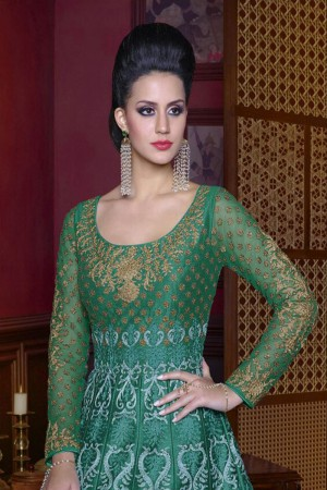 Ravishing Dark Green Silk Heavy Embroidery Kali Work Salwar Kameez