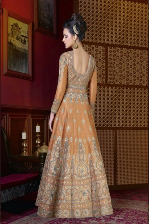 Divine Light Orange Silk Heavy Embroidery Kali Work Anarkali Salwar Kameez