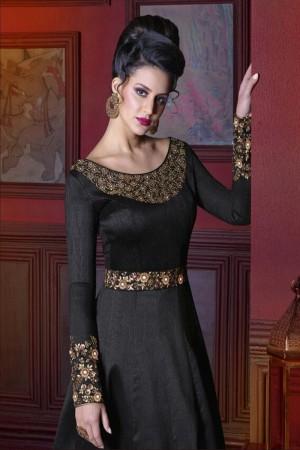 Beguiling Black Silk Heavy Embroidery Kali Work Salwar Kameez