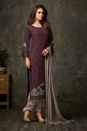 Charming Wine Georgette  Thread & Zari Embroidery with Diamond Work  Salwar Suit