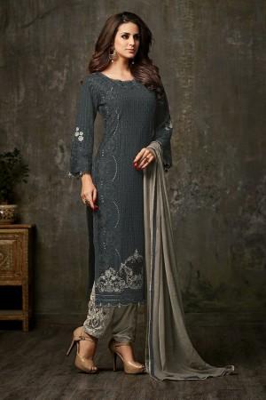 Exuberant Grey Georgette  Thread & Zari Embroidery with Diamond Work  Salwar Suit