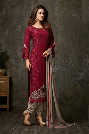 Delightful Maroon Georgette  Thread & Zari Embroidery with Diamond Work  Salwar Suit