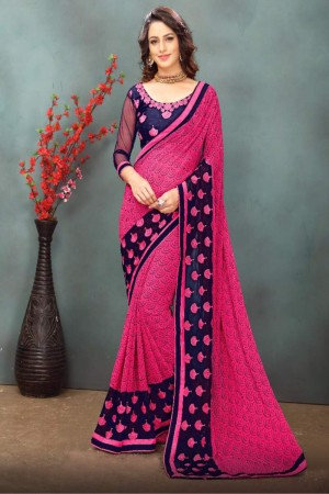 Graceful Pink Wetless Abstract and Floral Print with Lace Border Saree with Blouse