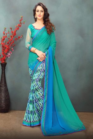Bewitching Skyblue Wetless Abstract and Floral Print with Lace Border Saree with Blouse
