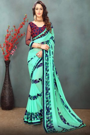 Picturesque Skyblue Wetless Abstract and Floral Print with Lace Border Saree with Blouse
