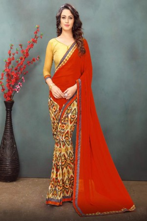 Beautiful Cream&Red Wetless Abstract and Floral Print with Lace Border Saree with Blouse