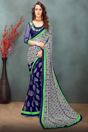 Royal Grey&Blue Wetless Abstract and Floral Print with Lace Border Saree with Blouse