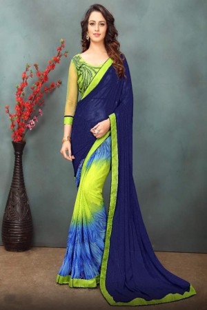 Bedazzling Blue&Limeyellow Wetless Abstract and Floral Print with Lace Border Saree with Blouse