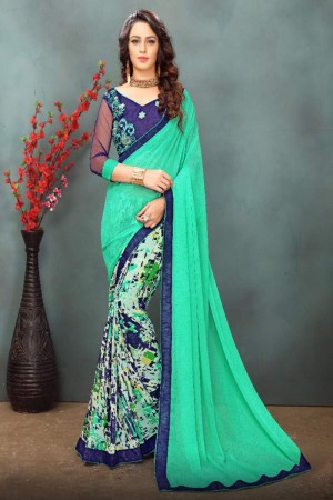 Gorgeous Pista Green Wetless Abstract and Floral Print with Lace Border Saree with Blouse