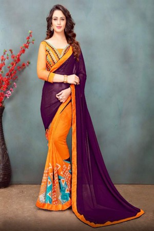 Voguish Wine&Orange Wetless Abstract and Floral Print with Lace Border Saree with Blouse