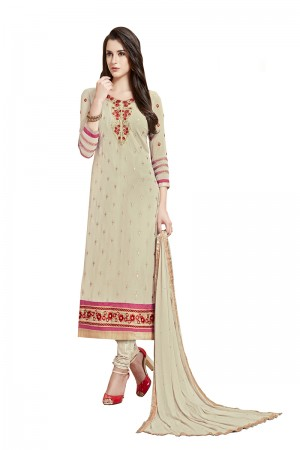Mind Blowing Cream Georgette Straight Cut Suit With Thread Embroidery Work in Neck & Arms Salwar Kameez