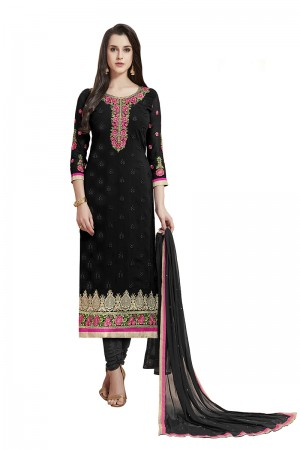 Blissful Black Georgette Straight Cut Suit With Thread Embroidery Work in Neck & Arms Salwar Kameez