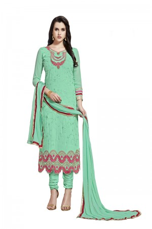 Sparkling Mint Light Green Georgette Straight Cut Suit With Thread Embroidery Work in Neck & Arms Salwar Kameez