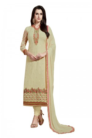 Charismatic Beige Georgette Straight Cut Suit With Thread Embroidery Work in Neck & Arms Salwar Kameez