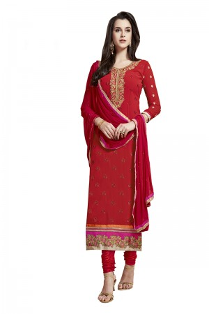 Rust Red Georgette Straight Cut Suit With Thread Embroidery Work in Neck & Arms Salwar Kameez