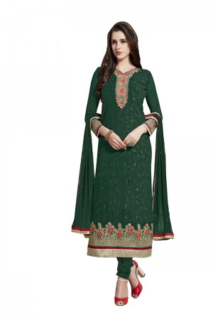 Impressive Terquoise Green Georgette Straight Cut Suit With Thread Embroidery Work in Neck & Arms Salwar Kameez