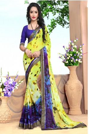 Stupendous Yellow Georgette Abstract and Floral Print with Lace Border Saree