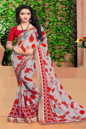 Charismatic Grey Georgette Abstract and Floral Print with Lace Border Saree
