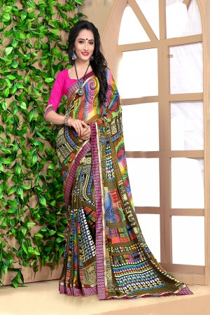 Vibrant Multicolor Georgette Abstract and Floral Print with Lace Border Saree