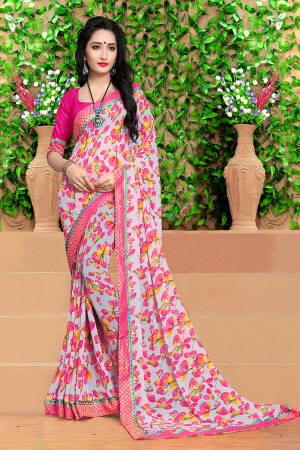 Marvelous Off white Georgette Abstract and Floral Print with Lace Border Saree