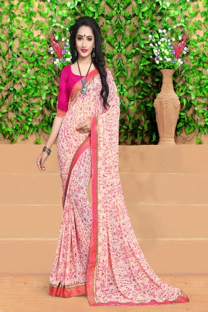 Rust Off white Georgette Abstract and Floral Print with Lace Border Saree