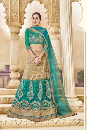 Marvelous Turquise Banglori Silk Designer Heavy Embroidery and Hand Work Lehenga Choli