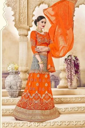 Pleasant Orange Banglori Silk Designer Heavy Embroidery and Hand Work Lehenga Choli
