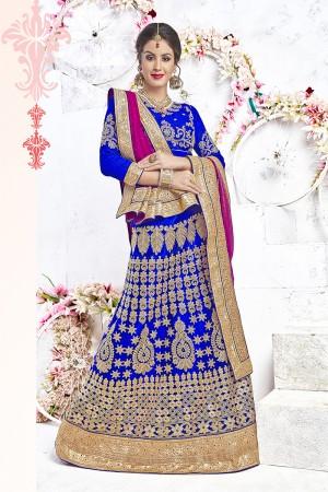 Bewitching Blue Net Heavy Embroidery and Hand Work Lehenga Choli