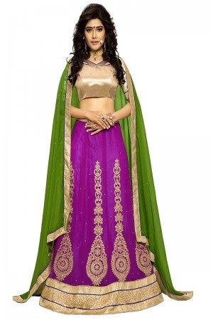 Fabulous Purple Chiffon Heavy Embroidery and Hand Work Lehenga Choli