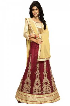 Stunning Maroon Chiffon Heavy Embroidery and Hand Work Lehenga Choli