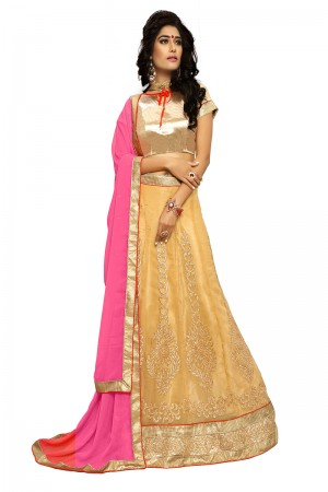 Luscious Beige Chiffon Heavy Embroidery and Hand Work Lehenga Choli
