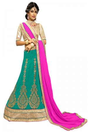 Distinctive Bottle Green Chiffon Heavy Embroidery and Hand Work Lehenga Choli