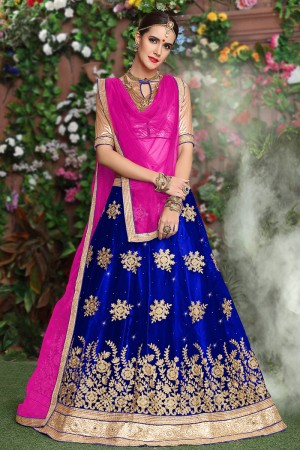 Mesmerising Royalblue Net Heavy Embroidery and Hand Work Lehenga Choli