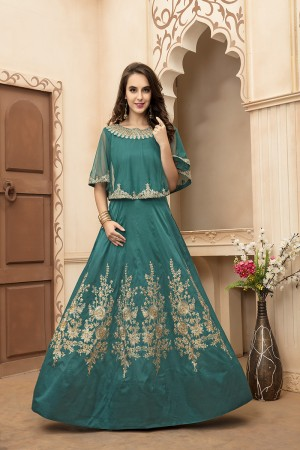 Charming Bottle Green Tafeta Silk Embroidery Beed and Lace Work Salwar Kameez