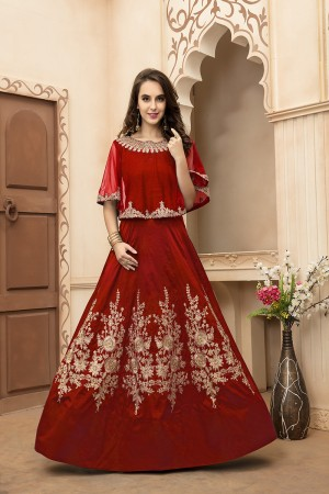 Exuberant Red Tafeta Silk Embroidery Beed and Lace Work Salwar Kameez