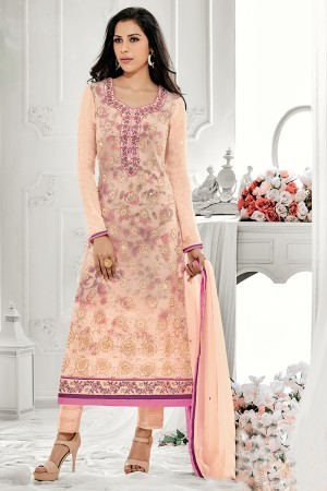 Eye catching Peach Georgette Embroidery on Neck with Lace Border Salwar Kameez