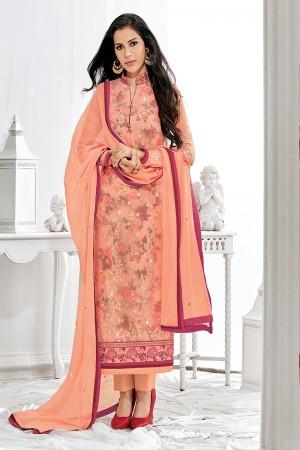 Elegant Fenta Georgette Embroidery on Neck with Lace Border Salwar Kameez