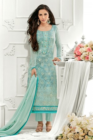 Outstanding Sky blue Georgette Embroidery on Neck with Lace Border Salwar Kameez