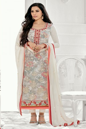 Delusive Off white Georgette Embroidery on Neck with Lace Border Salwar Kameez