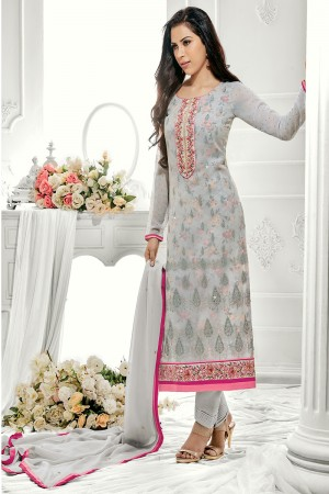 Enigmatic Grey Georgette Embroidery on Neck with Lace Border Salwar Kameez
