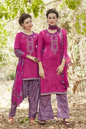 Alluring RaniPink Pure Cotton Heavy Embroidery Digital Print Top with Digital Printed Dupatta Salwar Kameez